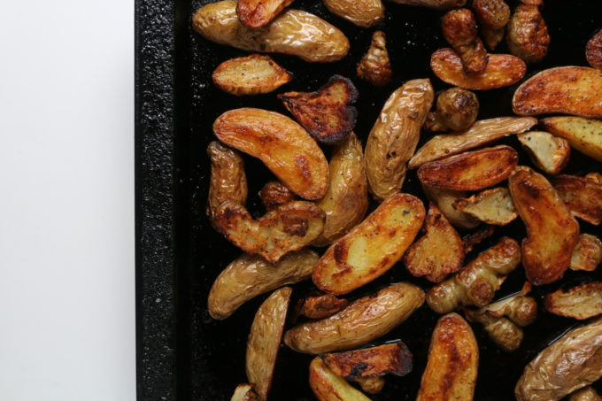Roasted Jerusalem artichokes and potatoes with a healthy char