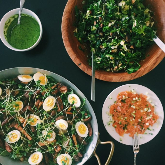 Roast carrot and egg salad with salsa verde