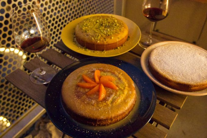 Olive oil cake with pistachio, orange zest and ricotta